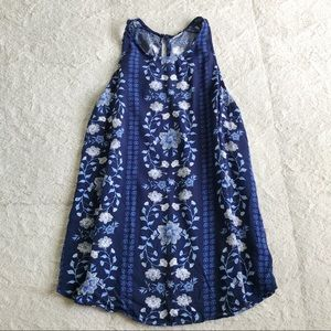 Old Navy Blue Floral Tank Top